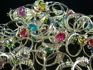HOT!! Wholesale Lots 10pcs S80 Silver mixed CZ Rings 6-8
