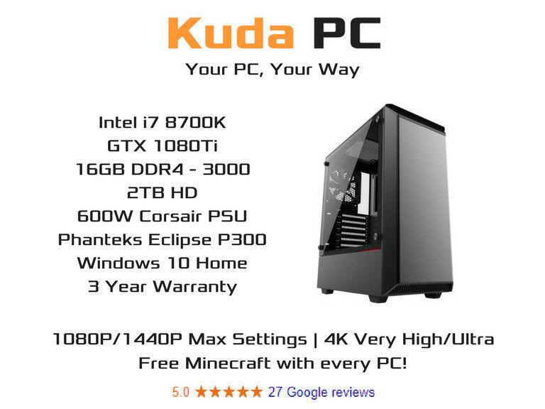 KUDA GAMING PC - i7 8700K - 16GB DDR4 - GTX 1080Ti - 2TB HD - WIN 10 - VR  READY - 3 YEAR WARRANTY | in Dennistoun, Glasgow | Gumtree