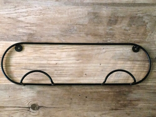 Amish crafted wrought iron horizontal 2 plate holder - strong sturdy wall rack