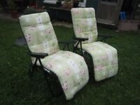 2 x MATCHING GARDEN LOUNGER CHAIRS