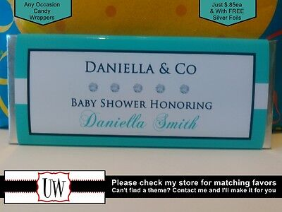 Tiffany & Co Candy Bar Wrappers Favors Party Bridal Baby Shower Birthday Party](Tiffany And Co Bridal Shower)