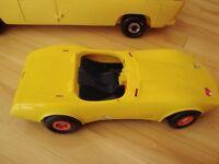 Vintage Barbie 1979 Supervette Yellow Corvette -For Parts/repair