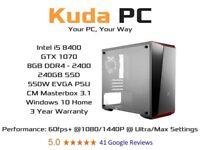 KUDA GAMING PC - i5 8400 - 8GB DDR4 - GTX 1070 - 240GB SSD - WIN 10 - VR READY - 3 YEAR WARRANTY