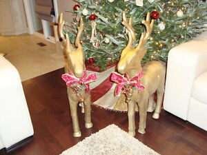 """Pair 37"""" Christmas Reindeer -Gold Paper Mache-The Pair for $70 Kitchener / Waterloo Kitchener Area image 2"""