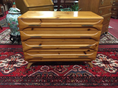 Sculptured Pine Mid Century Modern Chest of Drawers - Delivery Available