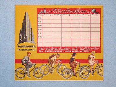 BAUER-Räder Klein-Auheim Stundenplan, Plakat, Fahrrad, Original um 1930