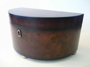 Bombay  Wood Mahogany Veneer Half Moon Jewelry Box