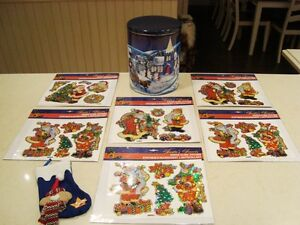 6 Sets -Christmas Static Cling Stickers New +Stocking +Large Tin