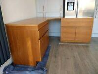 Big solid teak corner desk