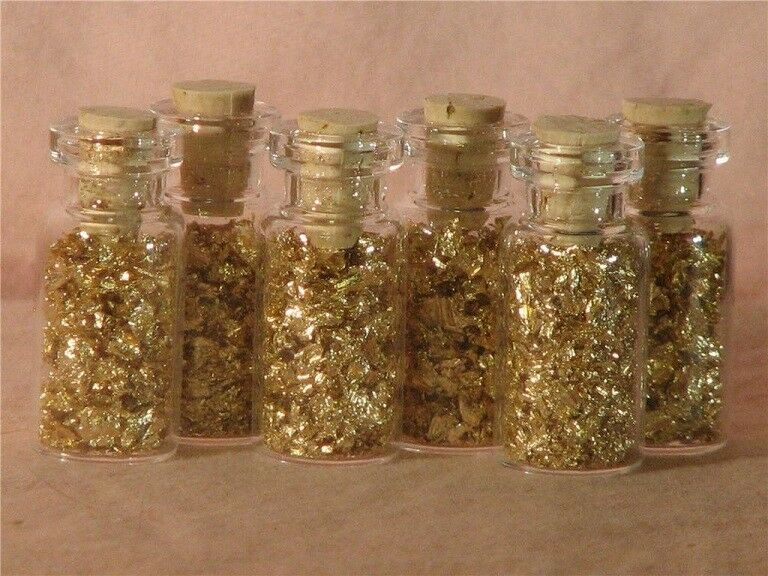 GOLD FLAKES IN 12 MINI GLASS BOTTLES  NO LIQUID
