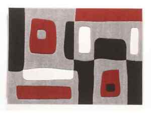 BLACK, RED AND WHITE RUG