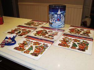 6 Sets -Christmas Static Cling Stickers New +Stocking +Large Tin Kitchener / Waterloo Kitchener Area image 6