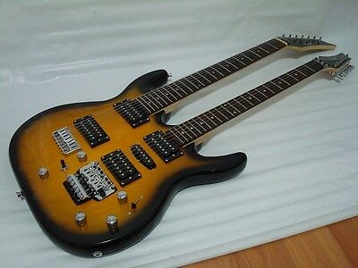 Sunburst 6/7 String Electric Double Neck Guitar with Padded Gig Bag