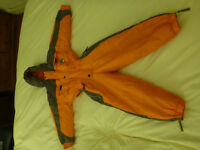 Child's Kokodo orange ski suit, fits 4-5 years, 110cm.
