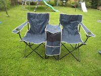 DOUBLE FOLDING CAMPING CHAIR / PARASOL SET