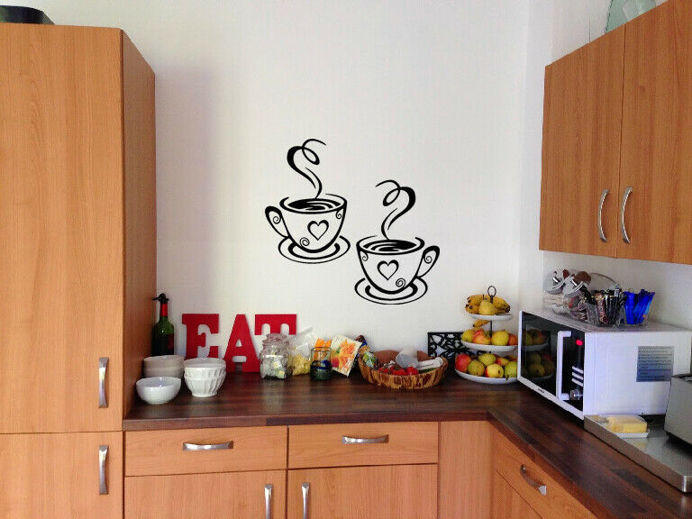 Home Decoration - 2 Coffee Cups Kitchen Vinyl Wall Art Stickers