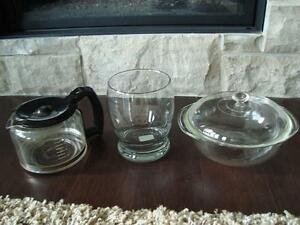 Set of 3 Glassware Items- Coffee Carafe, ase, Pyrex Dish $5/all