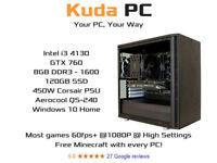 KUDA GAMING PC - i3 4130 - GTX 760 - 8GB DDR3 - 128GB SSD - WIN 10 - REFURB