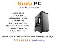 KUDA GAMING PC - i7 8700 - 16GB DDR4 - GTX 1080 - 240GB SSD - 3 YEAR WARRANTY - WIN 10 - DELIVERY