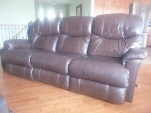 Lazyboy leather dual recliner couch