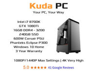 KUDA GAMING PC - i7 8700K - 16GB DDR4 - GTX 1080Ti - 240GB SSD - WIN 10 - 3 YEAR WARRANTY - DELIVERY