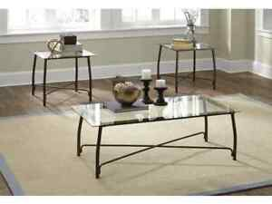 BURMESQUE COFFEE TABLE AND TWO END TABLES - ASHLEY