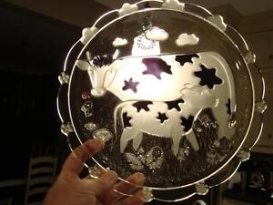 Cow Print Design Hand Blown Glass Cheese/Meat Tray w/ Glass Dome Kitchener / Waterloo Kitchener Area image 6