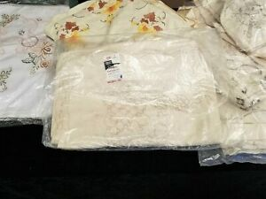 5 Large Vintage Hand Embroider Table Cloths Made in Shanghai