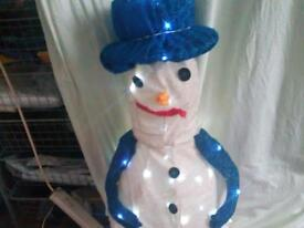 Beautiful light up indoor snowman collapses down for storage 3 feet tall x1 1/2