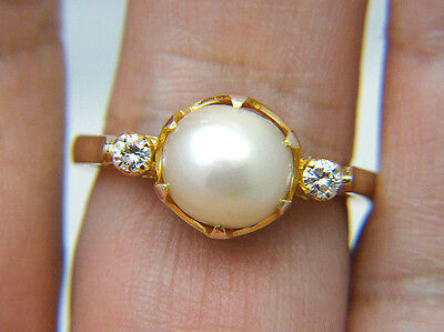 Estate Vintage Claw Prong Natural Pearl Diamond 14k Yellow Gold Collectible Ring