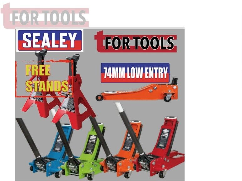 SEALEY TOOLS 2001LE LOW ENTRY TROLLEY JACK + AXLE STANDS DEAL 2TONNE LOW ENTRY ROCKET LIFT