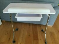 White portable mobile folding nail table