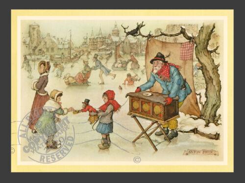 Children Ice Skating w Monkey in Winter * Dutch Village ANTON PIECK * Art Print