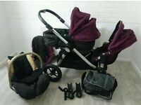 City select baby jogger double pram Stroller-purple puschair