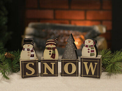 New Primitive Rustic Country Christmas Black SNOWMAN BLOCKS Letter Word Sign -