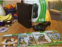 Xbox 360 with games and 2 controllers