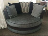 Cuddle chair brown and grey