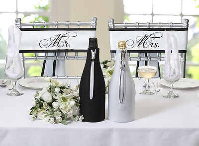 Pair of Mr. and Mrs. Satin Chair Sashes Wedding Reception Decoration - Cheap Chair Covers And Sashes
