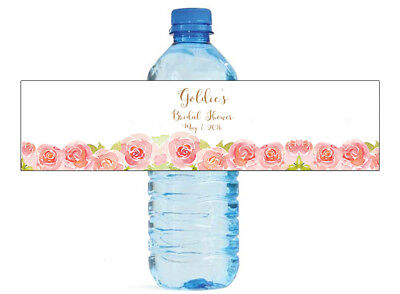 100 Red and Pink Roses Bridal Shower Wedding Anniversary Water Bottle labels ()