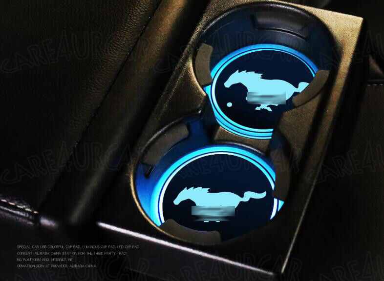 Car Parts - LED Car Cup Bottle Holder Pad Mat for Ford Mustang Auto Atmosphere Lights Deco