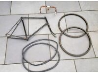 Various Bicycle bike parts - frame, handlebars, tyres