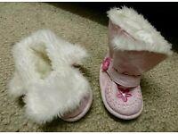 Pink boots 0-3 months