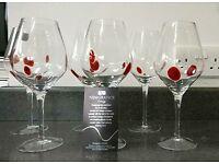 6 perfect newgrange living red spec 'galaxy' wine glasses ONO