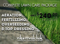 COMPLETE LAWN PACKAGE: Aeration+Fertilizing+Seeding+Topdressing