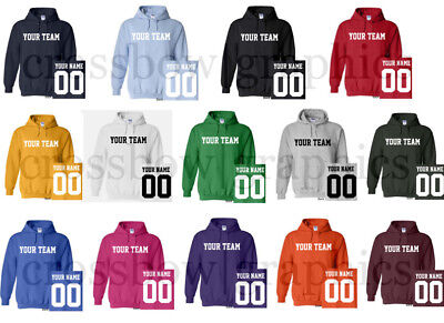 CUSTOM Hooded Sweatshirt Personalized ANY COLOR Name Number Team HOODIE Football ()