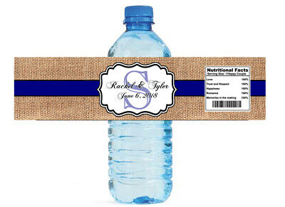 Burlap and Navy Blue Stripe Water Bottle Labels Wedding Anniversary Party Bridal - Navy Burlap
