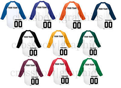 CUSTOM Raglan T-Shirt JERSEY Personalized Name Number Team Softball Baseball Tee