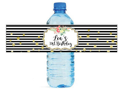 Black and White stipes w gold dots confetti Wedding Birthday Water Bottle labels](Birthday Black And White)