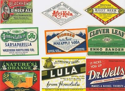 33 Original Carbonated Drink Labels from the 1930s. Very Rare! - Drink Labels
