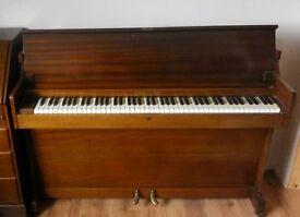 Challen Piano - small consolette piano with piano stool